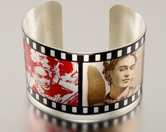 Photo Cuff, Brass Cuff Bracelet, Altered Art Jewelry, Photo Jewelry - Matte Silver FRIDA KAHLO Collage - Sealed in Resin - Free USA Shipping