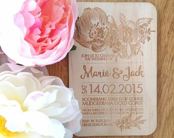 Rustic Wedding invitation, vintage floral design.  Laser Etched Wooden Invitation. A6 size