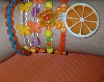 Citrus Orange And Yellow Bracelet Set
