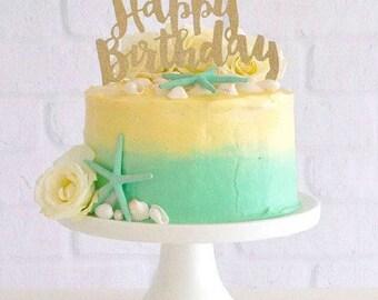 Glitter Happy Birthday cake topper