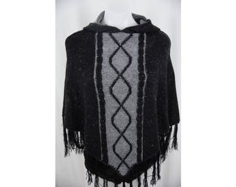 Vintage Spiral Black & Gray Hooded Witch Poncho
