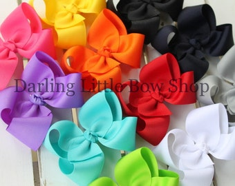 "Basic Bow -- CHOOSE your color -- basic 3"", 4"" , 5"" or 6"" bow with many color choices"