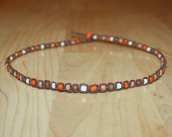Orange Beaded Choker Orange Beaded Necklace Orange Beaded Jewelry Orange Bead Necklace Seed Beaded Choker Seed Bead Choker Necklace Brown
