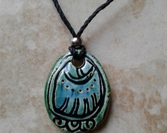Mayan IMIX Necklace Mesoamerican Tzolk'in Day Sign Crocodile Glyph Ceramic Amulet Turquoise Green Clay Pendant Aztec Calender Olmec Symbol