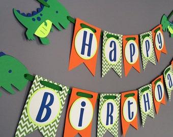 Boys Birthday Banner, Dinosaur Birthday Decorations, Dino banner, T-Rex Banner