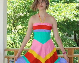 Vintage 1960's - 1970's Sundress / Halter Dress With Rainbow Stripes
