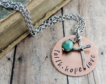 Faith Hope Love Necklace - Christian Jewelry - Religious Jewelry - Inspirational Gift - Bible Verse 1st Corinthians 13
