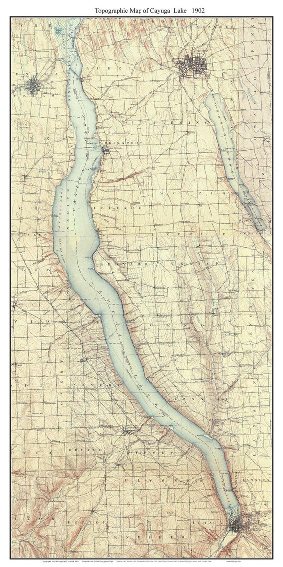 Cayuga Lake 1902 USGS Old Topographic Map Custom Composite