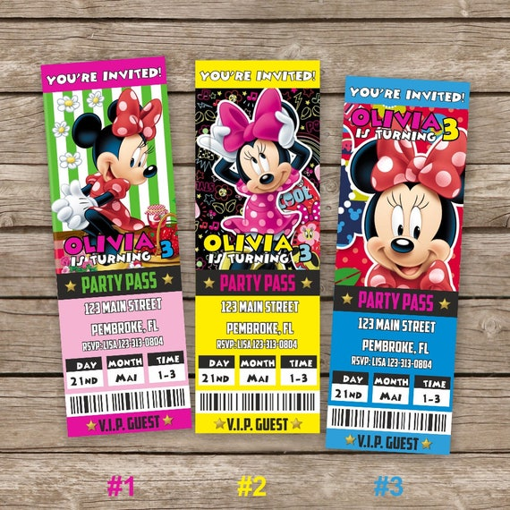 Minnie Mouse Invitations Minnie Mouse Ticket Invitations