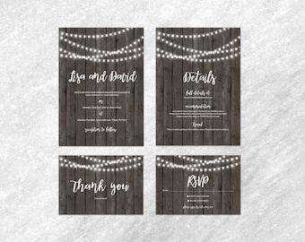 Light String Wedding Invitation Set