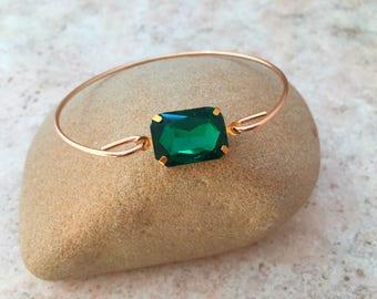 Malachite Gemstone Bangle Bracelet, Stacking Bracelets, Green Bracelet, Gift Jewelry, Birthstone Bracelet,Thin Bangle, Stackable Bracelet