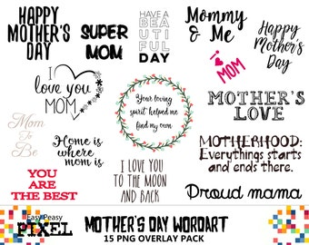 MOTHER'S DAY WORDART, Photoshop Overlays, Photoshop Overlay, Clipart, Clip Art, Wordart, Word Art, Maternity, Digital Scrapbooking