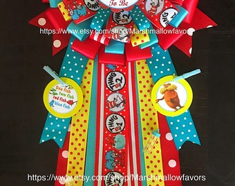 Cat in the hat mommy to be corsage- thing 1 thing 2 baby shower- dr seuss corsage- dr seuss baby shower