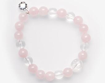 Rose quartz with clear quartz, 8mm bracelet