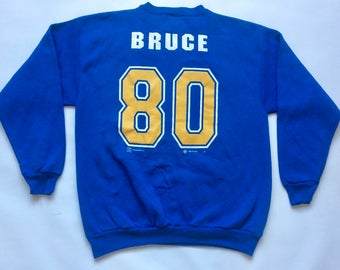 Vintage 1999 St. Louis LA RAMS Isaac Bruce Jersey Sweatshirt Size Large