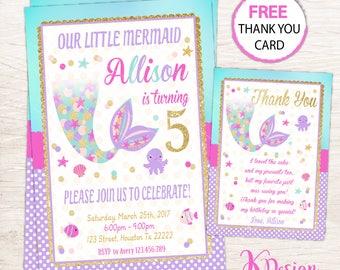 Mermaid Invitation , Mermaid Invitation Printable, Birthday Invitation, Pool Party Invitation