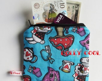 Alice in Wonderland Zipper Pouch by Dolly Cool Self Designed Fabric Cheshire Cat Mad Hatter White Rabbit