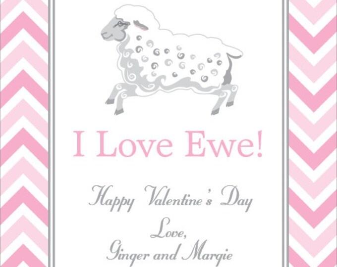 Little Lamb Chevron | Children's Personalized Valentine Card