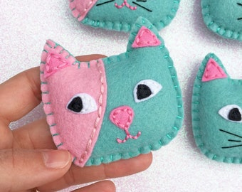 Cat ornament - cat plushie ornament - kitty ornament - cute cat ornament - cat felt ornament - cat lover gift - cat lady gift - HibouDesigns