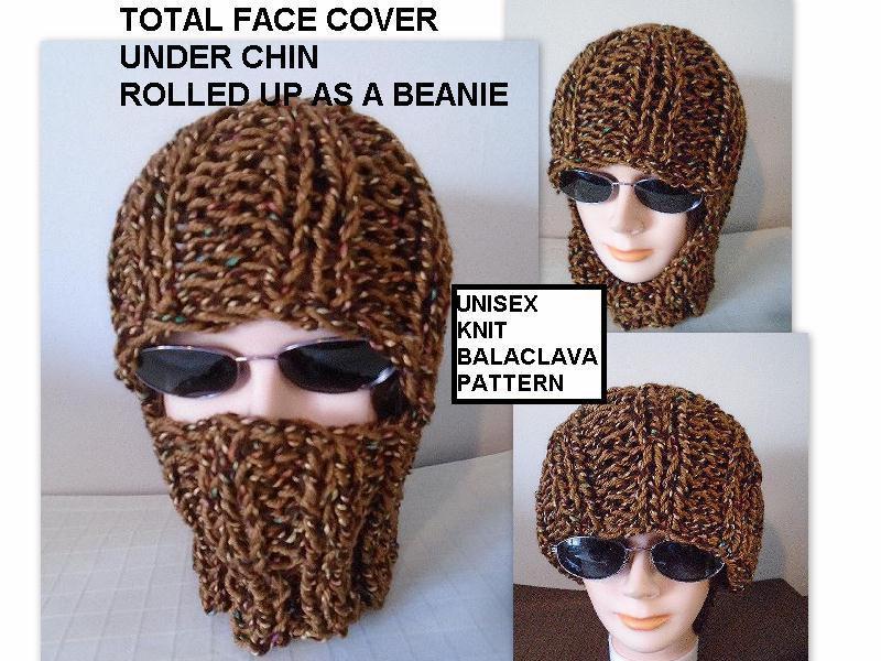 Knitting PATTERN Knit Balaclava Ski Hat Beanie Easy flat