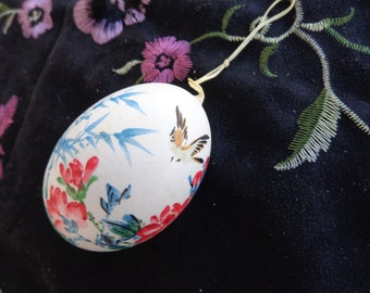 Vintage Very Delicate Handblown Hand Painted Egg - Oriental Birds and Red Flowers.  Has a cord to hang..  Beautiful!!!