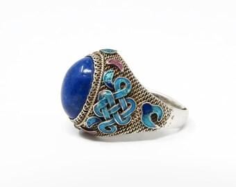 Antique Chinese Export Lapis Lazuli Enamel Silver Ring, Adjustable Size
