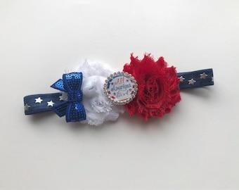 4th of july headband - patriotic headband - baby 4th of july headband - blue stars headband - american girl headband
