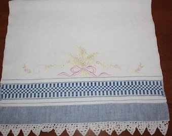 1970s Blue and White Towel with Hand Embroidery
