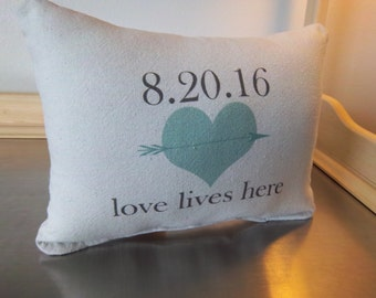 Wedding gift pillow date throw pillow newlywed gifts second anniversary gift cotton love quote keepsake custom wedding gift date cushion