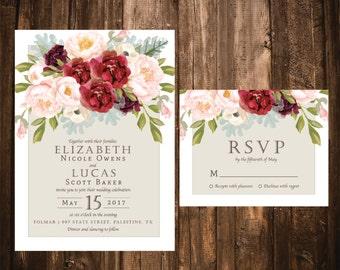 Blush and Marsala Wedding Invitations; Floral Wedding Invitations; Blush and Cranberry Wedding Invitations; Watercolor Floral Invitations