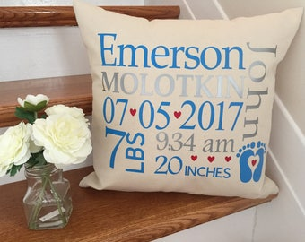 Baby Pillow, Birth Announcement Pillow Cover, Custom Baby Pillow Cover, Baby Gift, Baby Shower Gift, Personalized Pillow Cover