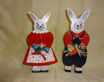 Wooden Easter Rabbit couple