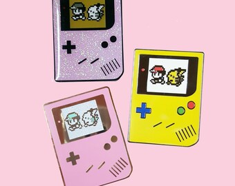 Gameboy Pokemon Yellow hard Enamel Pin Pikachu Ash Pokemon Go Gamer Video Games Instinct Valor Mystic Lapel Pin Hat Pin Cute Retro Game Boy