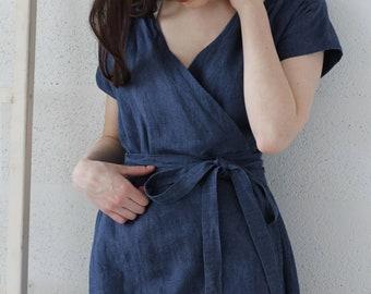 Wrap linen dress, jeans blue linen dress, summer dress, kimono style dress, women dresses, romantic dress