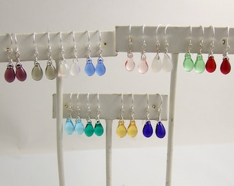 Earrings with Glass Teardrop and Sterling Silver Ideal for Little Girls LGE-various colors