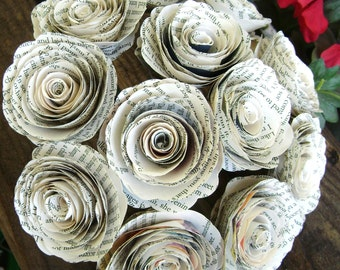 """one dozen 12 spiral book page roses 2"""" diameter recycled rolled paper flowers for wedding bouquets centerpieces alternative toss library"""