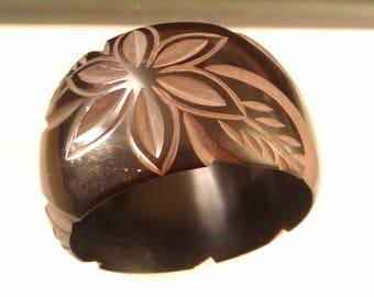chunky black carved bangle