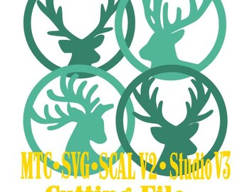 SVG Cut File Deer Gift Tag Set of 4 Christmas Set #02 Cameo Silhouette SCAL Cricut MTC Instant Download Cutting Files