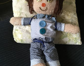 Boy hand knitted 40 cms boy doll hand finished