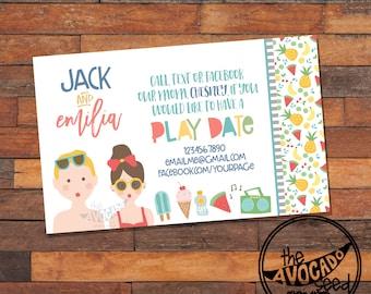 Cute Summer Play Date Calling Card - DIY Printing or Professional Prints via Convo
