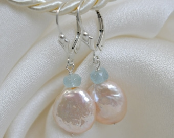 Coins pearls with blue aquamarine earrings Klappbrisuren coins pearls with blue aqua Marine Earrings Leverback