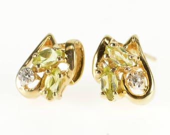 10k Peridot Diamond Inset Wavy Cluster Post Back Earrings Earrings Gold