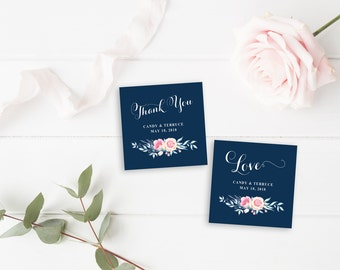Thank You Tag, Wedding Thank You Tags, Gift Tags, Wedding Favor, Thank You Printable, Wedding Printable, Navy love tag, The Grace collection