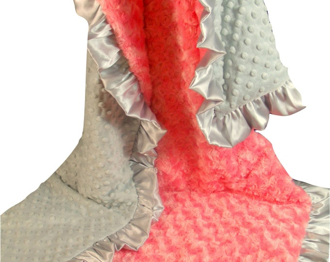 Coral Minky Minky Baby Blanket, Salmon Pink and Gray Baby Blanket, Coral Gray Baby Blanket