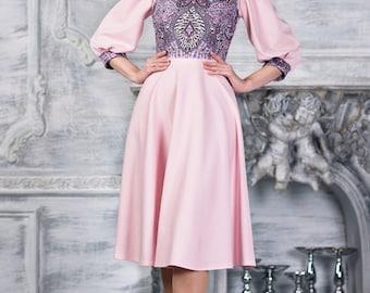 Light pink boho style dress midi by AugustWalzShop