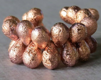 Copper Ore Etched Czech Glass Bead 9x6mm Teardrop Mix : 25 pc Full Strand Etched Tear Drop Mix