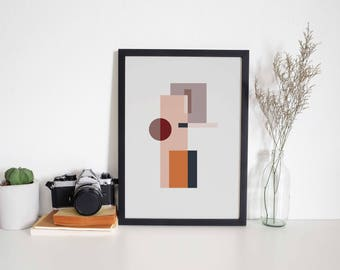 A4 Art Print • Abstract • Wall Art • Shapes • Minimal • Geometric • MY PLACE