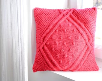 Handmade Pink knit cushion/Throw Pillow/Pillow included/45x45cm/Pillow for girls/Pillow for babies/Kid Pillow/Decorative wool Pillow