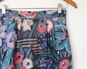 midnight in the garden...ladies straight skirt with side seam pockets in vintage fabric