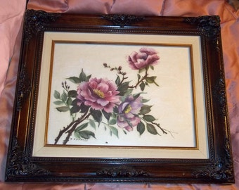 20% OFF Vintage Framed Original Acrylic Painting Botanical Pink Roses - Nicely Framed -